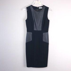 Calvin Klein Sheath Dress + Faux Leather Panels